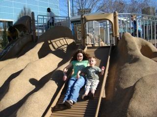 Abby and Zeke on slide